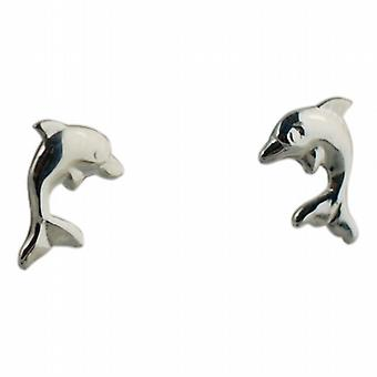 Silver 10x8mm Dolphin stud Earrings