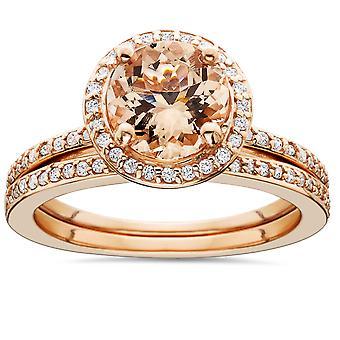 1 3/4 Karat Morganit & Diamond Halo Engagement Trauring Set 14K Rose Gold