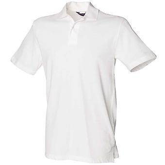 Henbury Mens Piqué Stretch manga corta camisa de Polo blanco, negro, rojo, azul marino