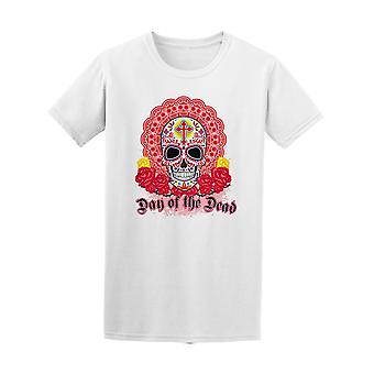 Sugar Skull With Roses And Cross Tee Men's -Image by Shutterstock