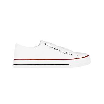 KRISP Frauen Plain Canvas Low Top Trainer Mode Schnürung Sneaker Pumps flache Schuhe 3-8