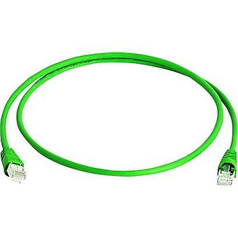 Telegärtner RJ45 Network cable, patch cable CAT 6A S/FTP 2.00 m Green Flame-retardant, Halogen-free