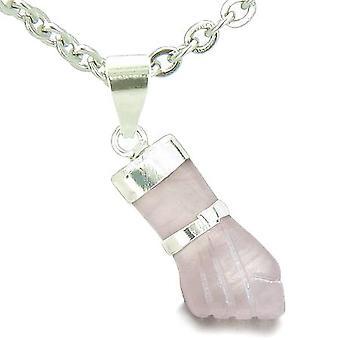 Brazilian Crystal Figa Rose Quartz Love Powers Amulet Italian Lucky Charm Pendant Necklace