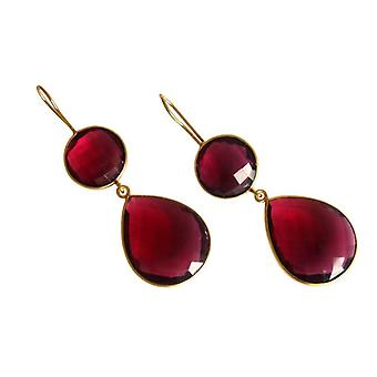 Ruby quartz earrings Ruby Red gemstone earrings 925 silver plated Red