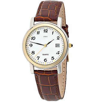 Mens brown leather strap watch men partly gold plated Crystal
