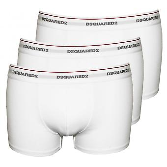DSquared2 3pcs Jersey coton Stretch Boxer taille basse malles, blanc