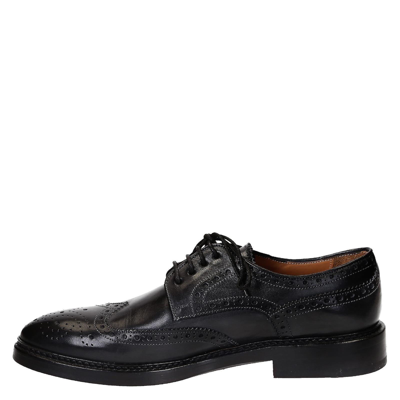A mano in pelle grigio wingtips brogue scarpe UGAkOb