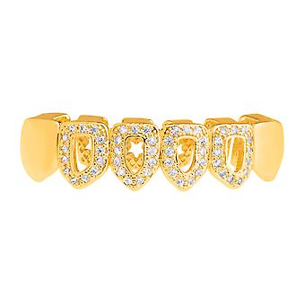 One size fits all bottom Grillz - CUBIC ZIRCONIA open, gold