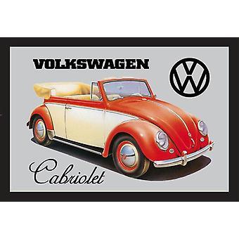 Spiegel VW Cabriolet VW Lizenz Wandspiegel mit schwarzer Kunststoffrahmung, in Holzoptik.