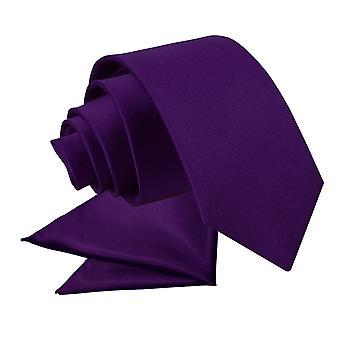 Purple Plain Satin Krawatte & Einstecktuch für jungen eingestellt