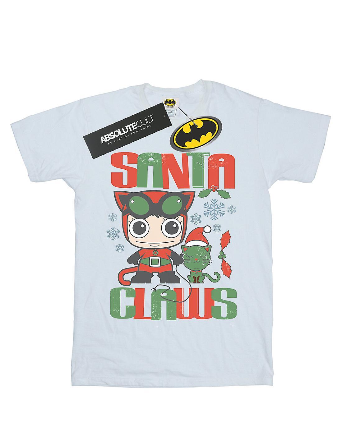 DC Comics Women's Chibi Catwoman Santa Claws Boyfriend Fit T-Shirt
