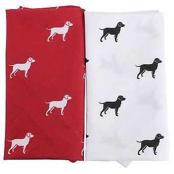 David Van Hagen Dog Handkerchief Set - Red/White