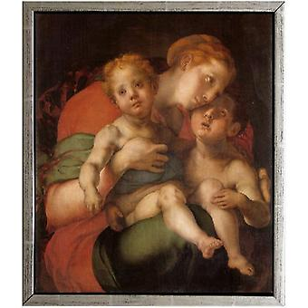 With frame Madonna and Child with the Young St, Pontormo, 61x51cm