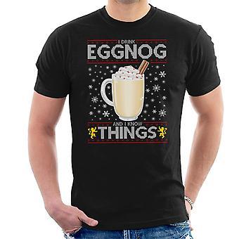 Spelet av troner jag dricker äggtoddy och vet saker mäns T-Shirt