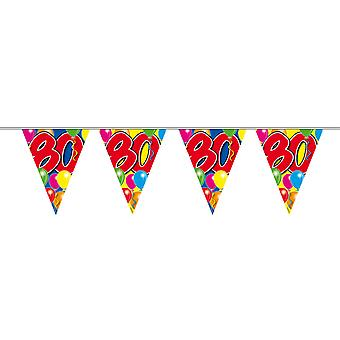 Wimpelkette 10m Zahl 80 Jahre Geburtstag Deko Party Girlande