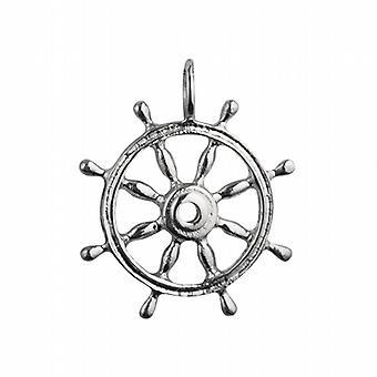 الفضة 28mm الصلبة السفن عجلة قلادة أو سحر