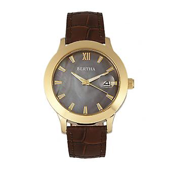 Bertha Eden Mother-Of-Pearl Leather-Band Watch w/Date - Dark Brown/Gold