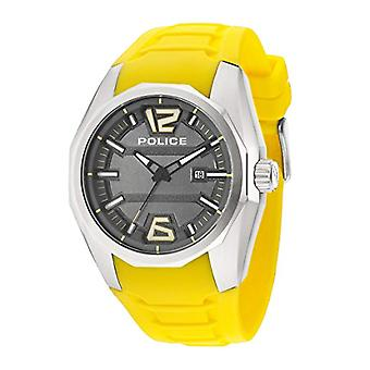 Police, Crown-Analog wrist watch, Silicone band, yellow