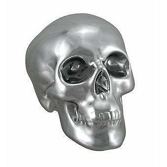Silver Finished Ceramic Human Skull Money Bank