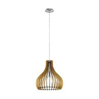 Eglo - Tindori enkelt lille lys loft vedhæng i Satin nikkel Finish med ahorn træ skygge EG96258