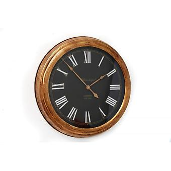 61cm Round Metal Gold Black with White detail Wall Hanging Clock