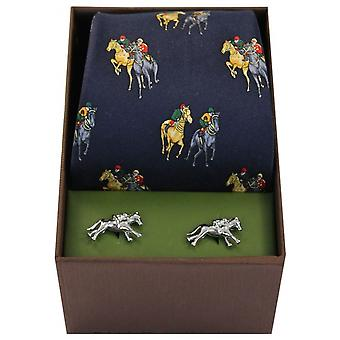 David Van Hagen cavallo da corsa cravatta e gemelli Set - Navy