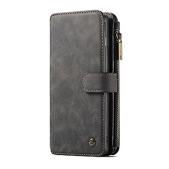 CASEME Samsung Galaxy S10 retro lederen portemonnee case-zwart