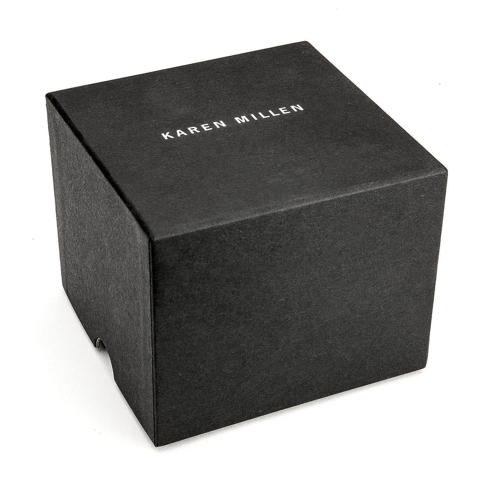 Karen Millen Womens Black Watch or Rose bracelet visage blanc KM161C