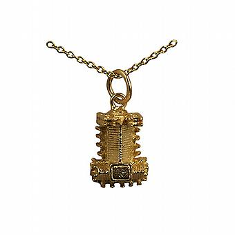 9ct Gold 10x13mm hollow Westminster Abbey Pendant with a cable Chain 20 inches