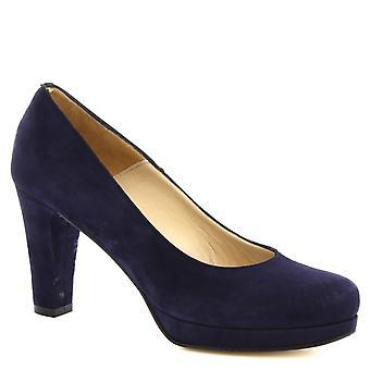Leonardo Shoes Women's handmade classic heeled pumps in navy blue suede