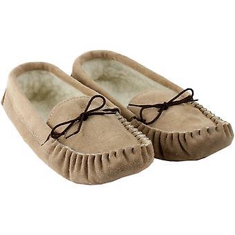 Handgemaakte natuurlijke mannen schapenvacht Mocassin pantoffels
