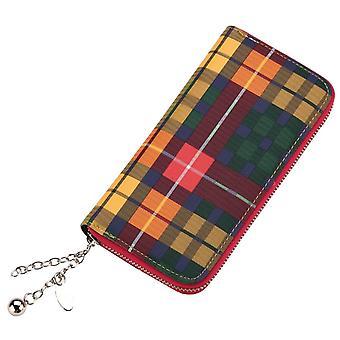 Funky retro tartan štýl spojka peňaženka