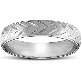 Chevron Brushed Mens Hochzeitsband 14K White Gold