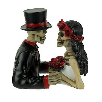 Eternally Yours Deathly Devotion Skeleton Bride and Groom Statue Set