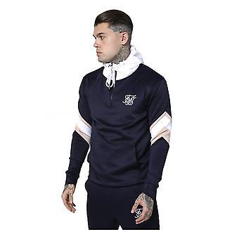 Sik Silk 1/4 Sprint overhead hoodie Navy/rosa/branco