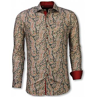 E Shirts - Slim Fit - Cashemira Paisley Pattern - Green