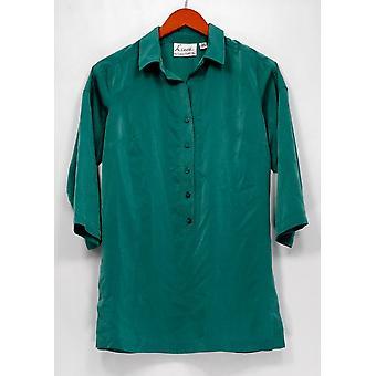 Linea de Louis Dell'Olio Top XXS Faux Washed Silk Tunic Green A251589