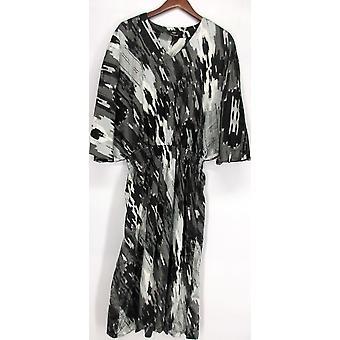 Dennis Basso maleriske ut Batwing ermet kjole svart/grå A223469