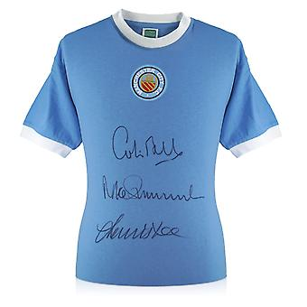 Manchester City Shirt Signed By Colin Bell, Francis Lee And Mike Summerbee