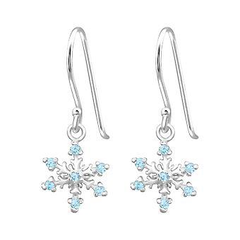 Snowflake-925 Sterling hopea kuutio metriä Zirkonia korva korut-W24472X