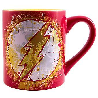 O flash Paint splatter 14oz caneca vermelha