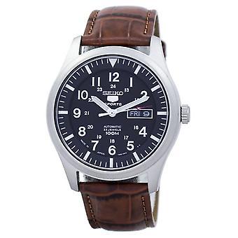 精工 5 运动自动日本制造比例棕色皮革 Snzg15j1 - ls7 男子手表