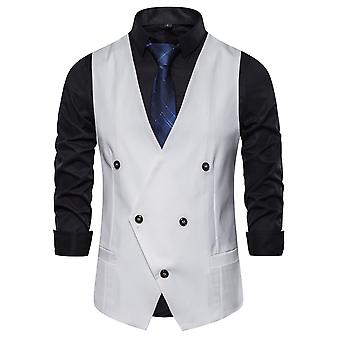 Allthemen Men's Solid&Stripe Spliced Casual Four Seasons V-Neck Suit Vest