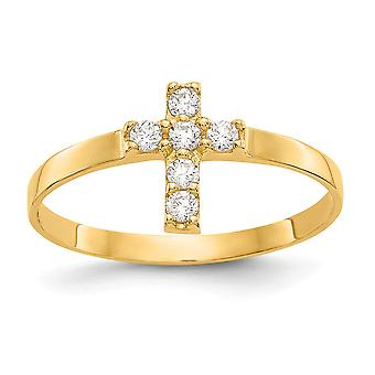 10k Yellow Gold Polished CZ Cubic Zirconia Simulated Diamond Religious Faith Cross Baby Ring Size 3.00