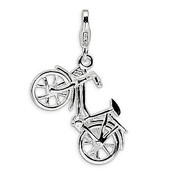 925 Sterling Silver Moveable Rhodium plated Fancy Lobster Closure 3 D Enameled Bicycle With Lobster Clasp Charm Pendant