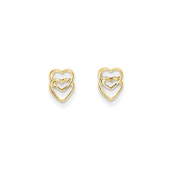 14k Yellow Gold Textured Polished Hearts Post Earrings - .2 Grams