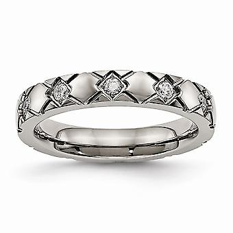 4mm Titanium Polished Criss Religious Faith Cross Grooved CZ Cubic Zirconia Simulated Diamond Ring Jewelry Gifts for Wom