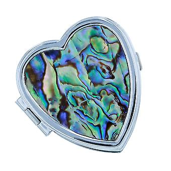 The Olivia Collection Ladies Blue/Green Inlaid Paua Shell 2 Compartment Heart Shaped Pill Box