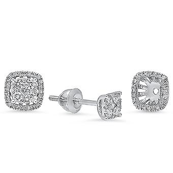 Dazzlingrock Collection 0.40 Carat (ctw) 14K Round Diamond Ladies Stud Earrings With Removable Jackets, White Gold