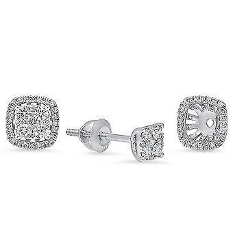 Dazzlingrock Collection 0,40 Carat (CTW) 14K runde diamant damer stud øreringe med aftagelige jakker, hvid guld